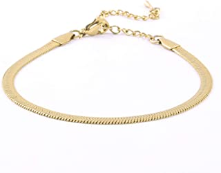 Solememo Gold Plated Flat Snake Chain Herringbone Choker Necklace Minimalist Simple Choker Necklaces for Women Jewelry