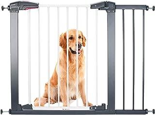 Luuoz Baby Gate Pet Gate Swings Both Ways, 40.6-Inch Baby Gate for doorways, Extra Wide Walk Thru Gate Pressure Mount, Includes 8-Inch Extension Kit, Silver Grey