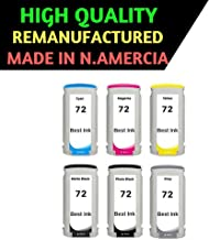 Best Ink Remaufactured Cartridge Replacement for HP 72 Combo Pack of 6 Colors (`Matte Black C9403A, Photo Black C9370A, Cyan,C9371A, Magenta C9372A, Yellow C9373A, Grey C9374A)