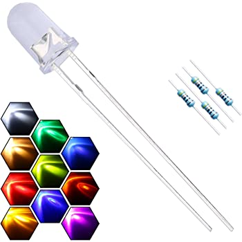 EDGELEC 200pcs 10 Colors x 20pcs 5mm LED Light Emitting Diode Assorted Kit 29mm Lead Clear Round Lamp White Red Blue Green Yellow UV Bright LEDs Bulb +300pcs Resistors for DC 6-12V Lights