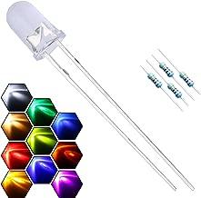 EDGELEC 200pcs 10 Colors x 20pcs 5mm LED Light Emitting Diode Assorted Kit 29mm Lead Clear Round Lamp White Red Blue Green Yellow Purple/UV Ultra Bright LEDs Bulb +300pcs Resistors For DC 6-12V Lights