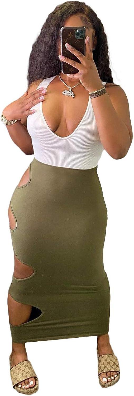 Sexy Dresses for Curvy Women Sundress Sleeveless Bodycon Deep V Neck Color Block Hole Bandage Midi Club Dress