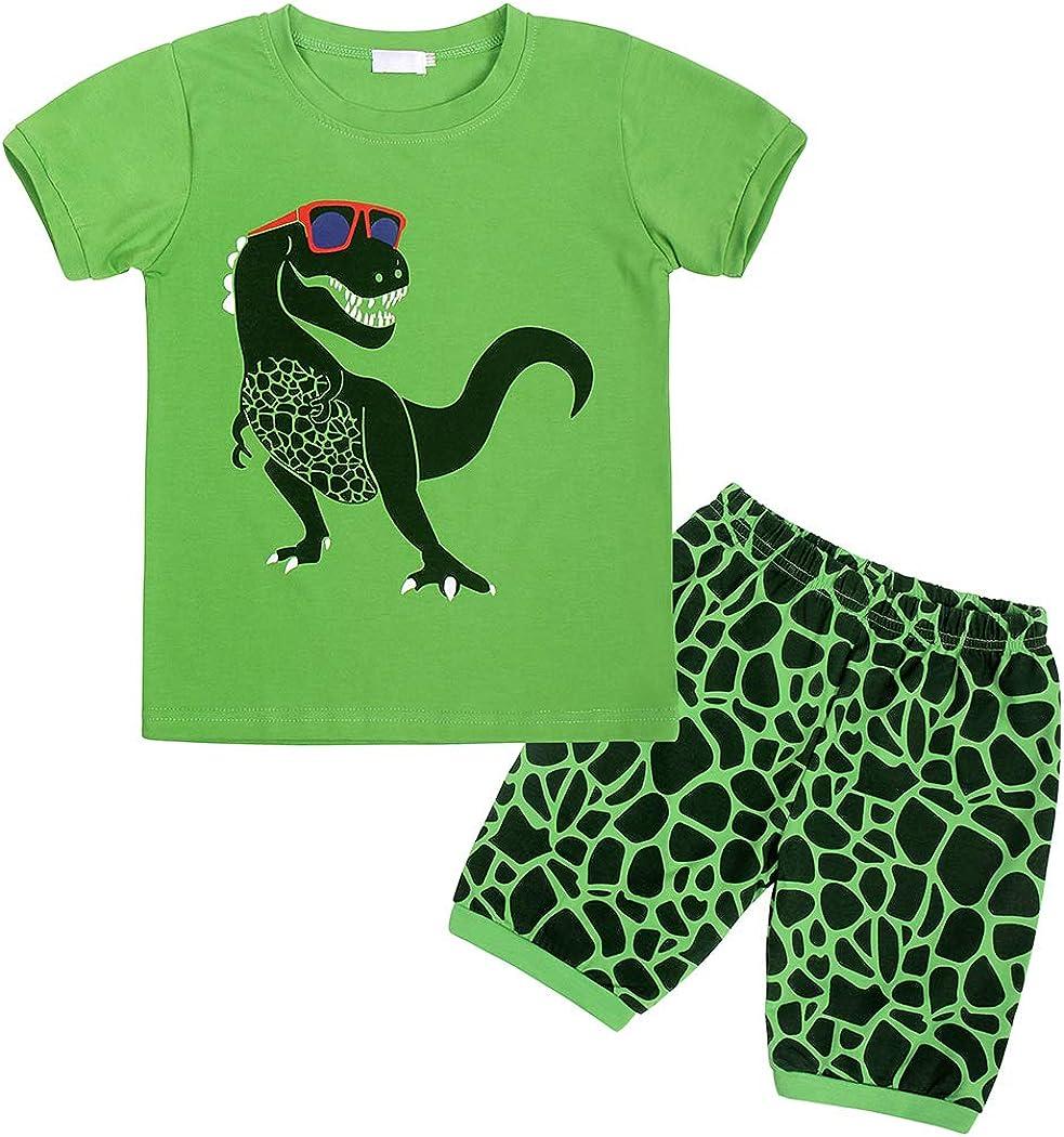 AmzBarley Toddler Boys Clothes Dinosaur Tee + Shorts Set Kids Summer Outfit Set Carttoon Printed Top and Shorts Green
