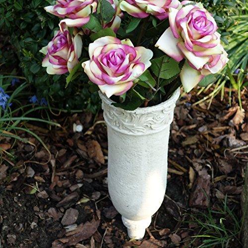 Trauer-Shop Blumenvase Grabvase Steckvase mit Ornamenten. 30cm. 1 Stück