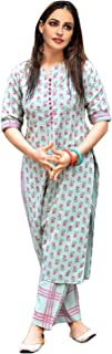 GoSriKi Women's Cotton Straight Kurta with Checkered Trouser