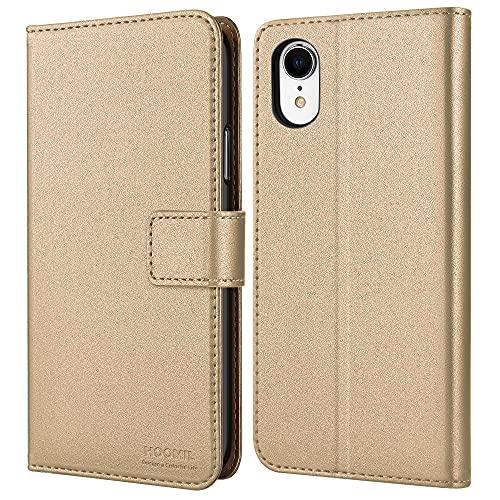 HOOMIL iPhone XR Hülle, Handyhülle für iPhone XR Hülle [Schützt vor Stößen] Leder Flip Hülle Cover Magnetische Schutzhülle für Apple iPhone XR Tasche, Gold