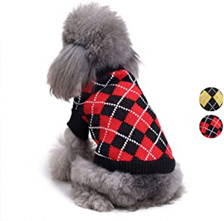 Chic Argyle All Over Dog Sweater, Yellow Black Argyle Dog Clothes Knit Sweater Apparel for for Teddy, Pug, Chihuahua, Shih Tzu, Yorkshire Terriers, Papillon by HongYH