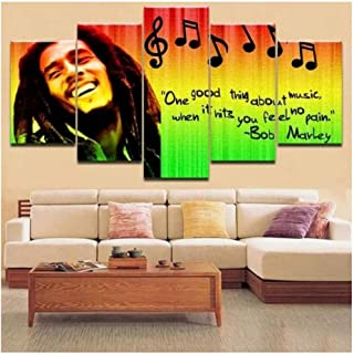 DNJKSA 5 Pieces Pictures Home Decor Modular Canvas Wall Art Bob Marley Painting for Living Room Music Poster Bedroom Poster/20x35 20x45 20x55cm-No Frame