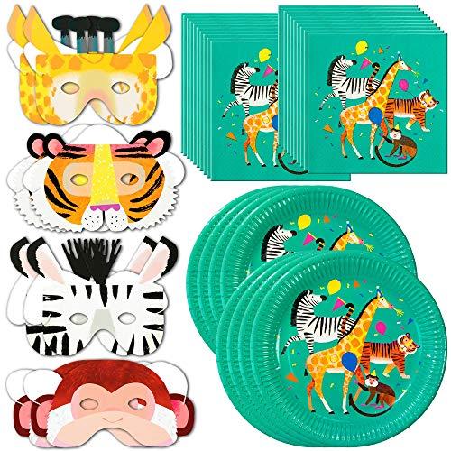 Talking Tables Zoo Party Bundle – Perfecto para fiestas de cumpleaños infantiles con temas de selva, animales, granjas y circos | Platos de papel, servilletas y máscaras