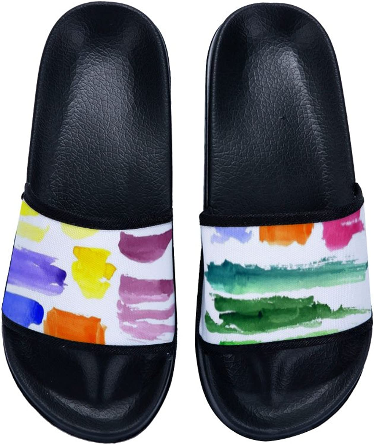 Buteri Two Different Sides Watercolor Ink Paiting Brush colorful Slippers Non-Slip Quick-Drying Slippers for Womens