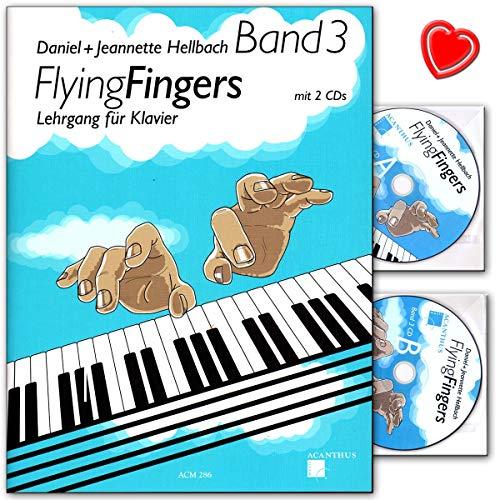 Flying Fingers Band 3 - Klavierschule (Mittelstufe) von Daniel Hellbach mit 2 CDs und mit bunter herzförmiger Notenklammer