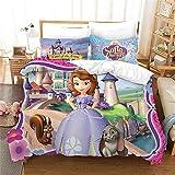 Yumhi Sofia The First Princess Duvet Cover Set 3 Piece Cartoons Bed Set Bedding Including 1 Duvet Cover and 2 Pillowcases Queen Size