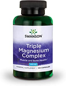 Swanson Triple Magnesium Complex Absorption Support Bone and Mood Health Citrate Oxide and Aspartate Combination Supplement 400 mg 100 Capsules (1 Pack)