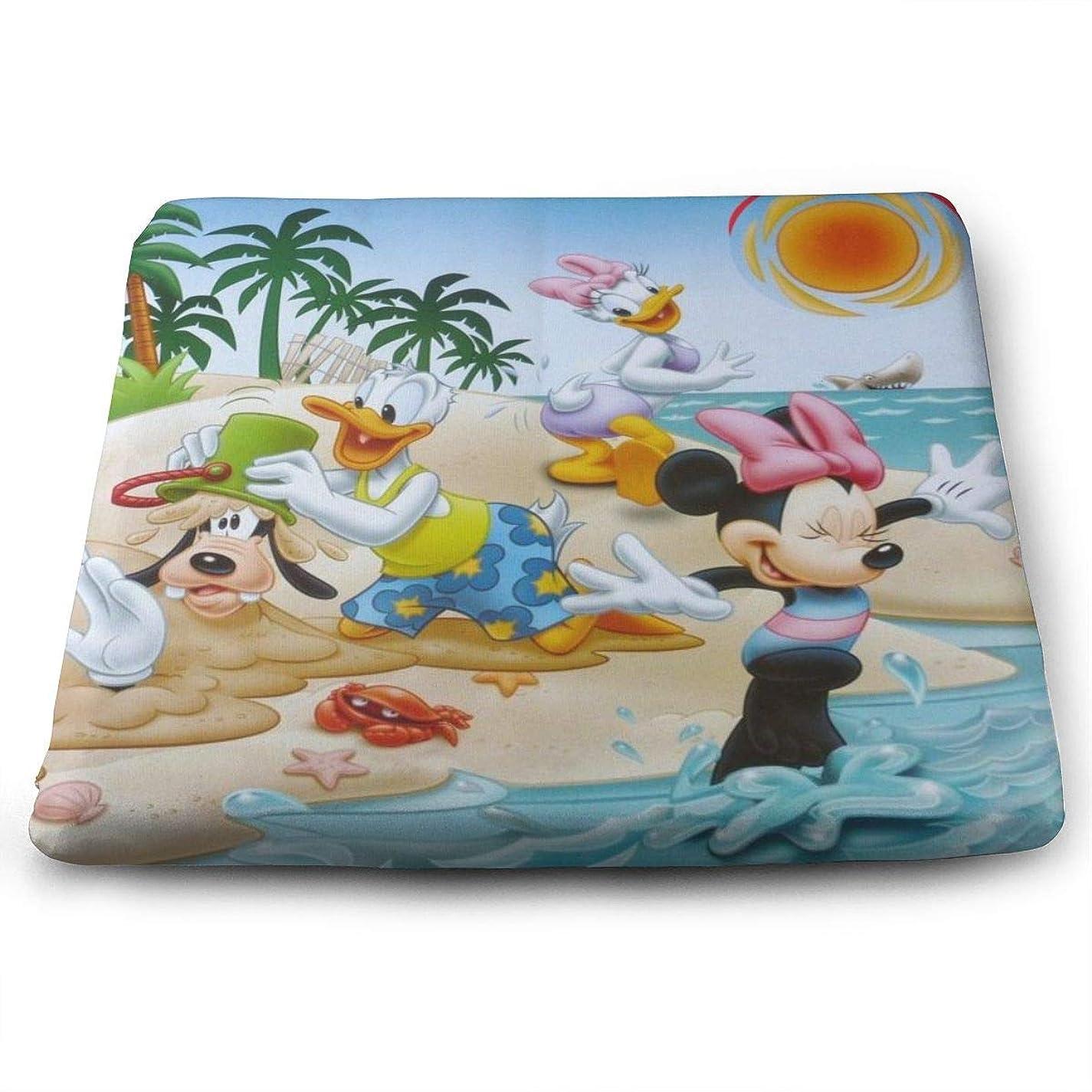 耕すボックス粘土ミッキーマウスが砂遊びをしています 座布団 四角形 35x38x3cm おしゃれ かわいい 通気性抜群 低反発 座り心地抜群 椅子用 オフィス 自宅用 クッション 1枚