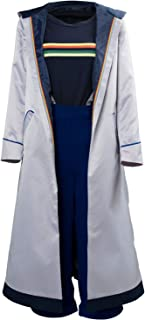 Womens Doctor Long Trench Who is Doctor Cosplay Costume Halloween Grey Coat Full Set