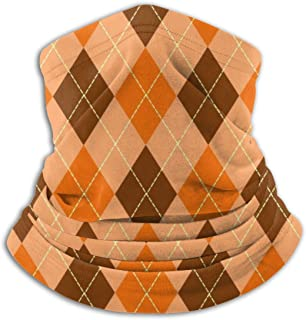 Orange and Brown Buffalo Plaid Unisex Fleece Neck Warmer Ear Warmer Headband & Face Mask Cold Weather Gear One Size