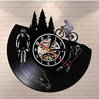 MRQXDP Dirt Bike Bicycle Modern Vinyl Record Silent Quartz Wall Clock Skating Hanging Watch Biker Cyclist Skater Sport Lov...