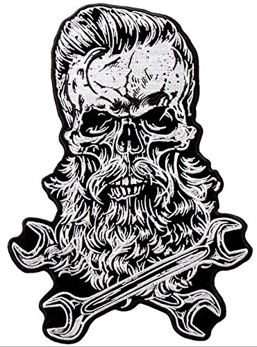 """Hot Leathers, Spruce Up Your Threads, BEARDED SKULL, Dons A Spiffy Haircut & Bread with Crossed Wrenches PATCH, 7"""" x 10"""""""
