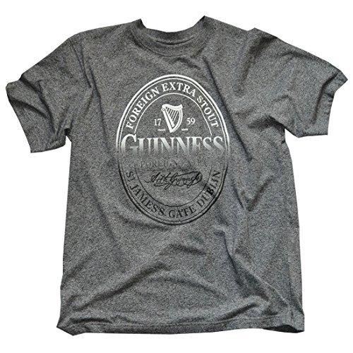Générique Guinness BLK Guin Stamp Grindle R/N T T-Shirt, Gris (Grey Grey), L Homme