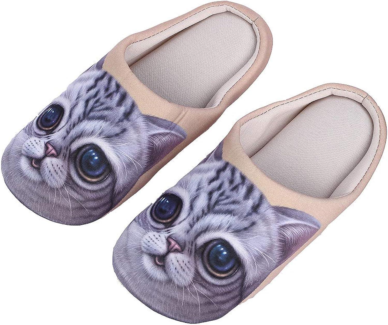 NIUCHACHA Slippers Cozy Nonslip Memory Foam Lightweight Lining Plush Washable Warm Cotton Home House (Female 7-8, Cute cat:3)