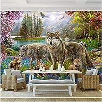 Xbwy 装飾壁画壁の壁画壁紙森赤桃ブロッサムグレーオオカミ動物子供壁紙子供の部屋の装飾-280X200Cm