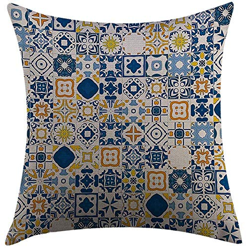Duang Kissenbezug Home Dekorative Dekokissen Abdeckung Gelb und Blau Mosaik Portugiesisch Azulejo Mittelmeer Arabesque-Effekt Violett Blau Senf Weiß Kissenbezug 45X45cm
