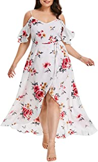 Vemow Plus Size Elegant Women's Casual Short Sleeve Cold Shoulder Boho Floral Print Casual Daily Party Beach Long Dress Off Shoulder Beach Dress