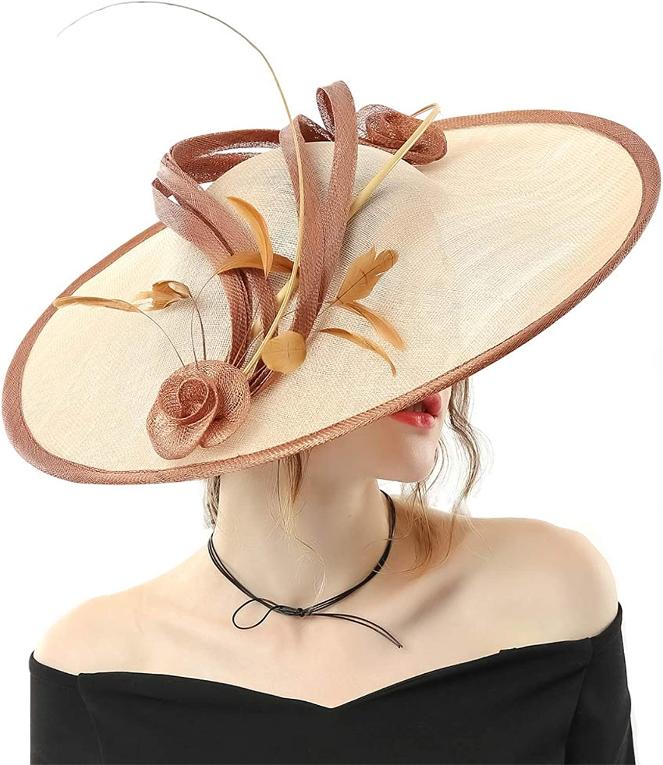 June's Young Women Hats Wide Brim Sinamay Party Wear