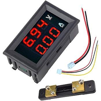 Red LED Volt Amp Power Meter Test Digital Voltmeter Ammeter DC 100V 50A Blue