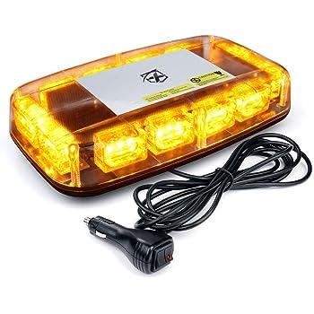 Mesllin White Amber Emergency LED Barra estrobosc/ópica de luz 6 Coche DC 12V On Off Switch each Bulb Soporte de montaje ajustable 20W