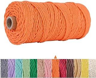 AOKKR Makramee Garn 3mm x 100m, Baumwollgarn, Baumwollseil, Natürlicher Baumwollgarn für Basteln, Wandbehänge, Dekorationsprojekte, Recycelbar - Orange