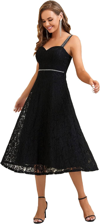 Alisapan Women's Sweetheart Neckline A Line Lace Prom Dress Wedding Guest Dress 0282