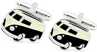 HONEY BEAR Cufflinks for Men - Camper Van Campervan Bus Silver