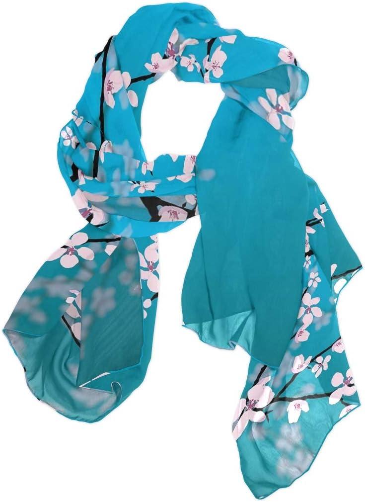 AUUXVA Fashion Scarf Japanese Floral Flower Cherry Blossom Long Lightweight Sunscreen Scarf Shawl Wrap Muffler Neckerchief for Women Men