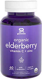 Elderberry Gummies with Vitamin C & Zinc for Immune Support | USDA Organic, Vegan Certified & Non-GMO Verified (60 Vegan G...