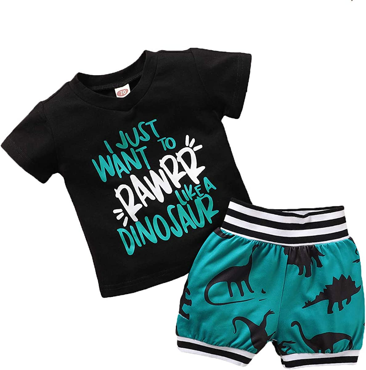 Etosok Toddler Baby Boys' Shorts Set Summer Dinosaur Print Outfit Cotton 2Pcs T-Shirt Set Short Sleeve Clothing(Green)