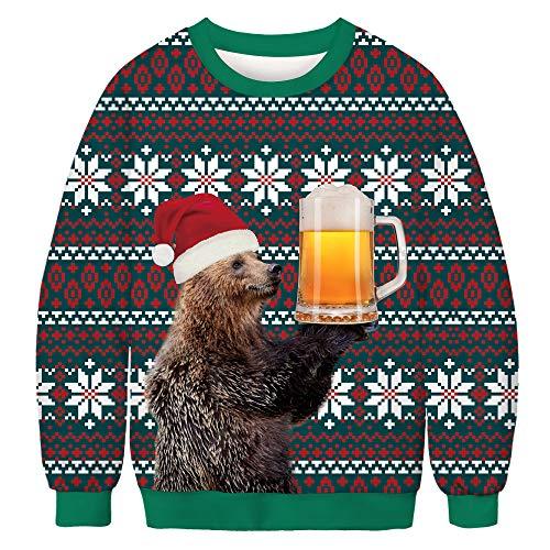 ISAAC ENGLAND Unisex Männer Frauen Bär Bier Print Pullover Weihnachten Pullover Neuheit Herbst Winter Blusen Kleidung Crewneck Sweatshirt,XL