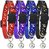 Upgraded Version - Cat Collar Stars and Moon, 4-Pack, Reflective with Bell, Solid & Safe Collars for Cats, Nylon, Kitty Collars, Pet Collar, Breakaway Cat Collar, Free Replacement