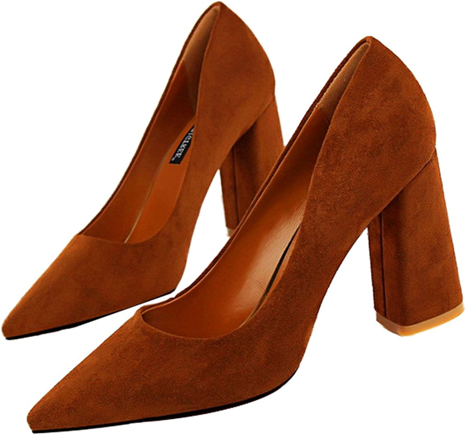 Owen Moll Women Pumps, Fashion Square Heel Solid Shallow Pointed Toe Sandal shoes