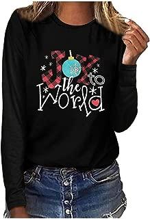 LEKODE T-Shirts Women's Christmas Printed Crewneck Long Sleeve