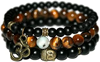 Young & Forever D'vine Onyx Tiger Eye Tourmalinated Quartz Healing Beads Yoga Reiki Buddha & Om Charm Natural Stone Unisex...