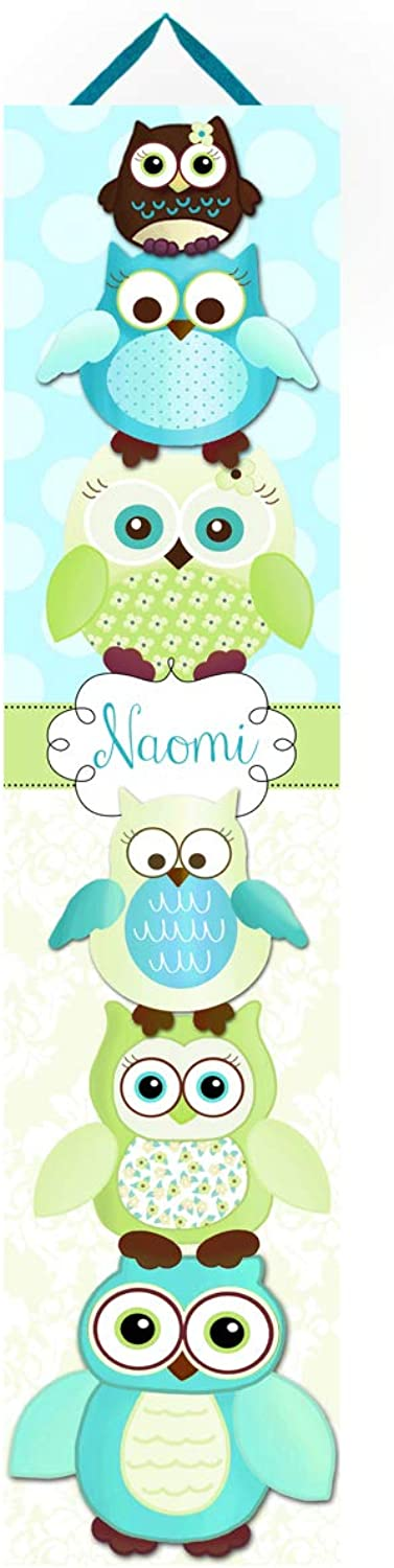Personalized Kids Canvas GROWTH CHART Green and Turquoise Stacked Up Owl Friends Damask Baby Nursery Canvas Growth Chart GC0156