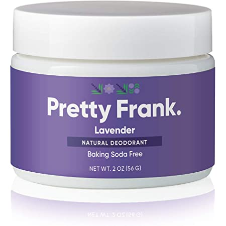 Pretty Frank Natural Deodorant Jar- Baking Soda Free Natural Deodorant for Women, Men, Teens, Kids – Paraben Sulfate Free Deodorant Cream with Coconut Oil, Arrowroot, Vitamin E, Zinc – Lavender