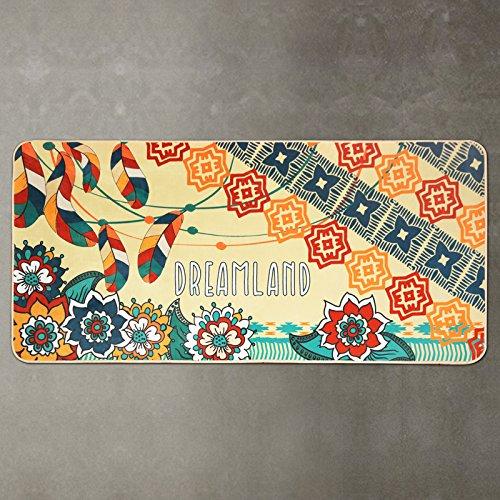 GRENSS Ethnischen Stil mit Feder und Blume gedruckt Wolldecke Home Bereich Mat Bettvorleger Non-Silp Matte für Küche/Schlafzimmer dekorativen Teppich, B, 800 mm x 1600 mm
