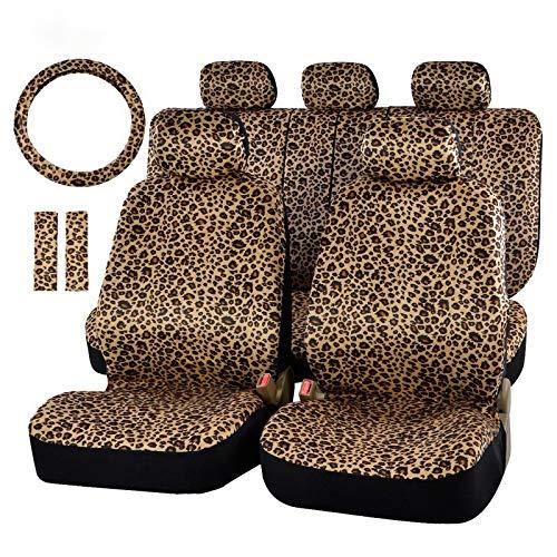 """CUzzhtzy Leopard-Druck-Auto-Sitzabdeckung Universal-Fit Gurtpolster und 15\"""" Universallenkrad Car Seat Protector Schützen Sie den Sitz"""
