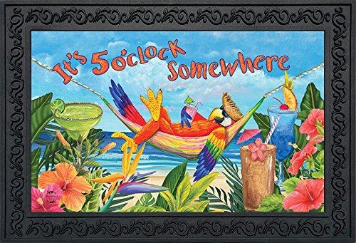 Briarwood Lane 5 O'clock Parrot Summer Doormat Tropical Beach Humor 18' x 30' Indoor Outdoor