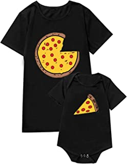 Daddy and Me Tee Family Matching Shirts Funny Pizza Pie Tops for Men and Baby