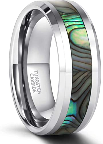 Frank S.Burton 4mm 6mm 8mm I Love You Tungsten Abalone Shell Inlay Rings for Men Women Couples Wedding Band Size 4-15