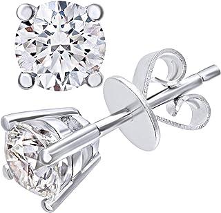 Aooaz Silver Plated Earrings For Women Round Crystal Light Blue CZ Flower Shape Stud Earrings Wedding