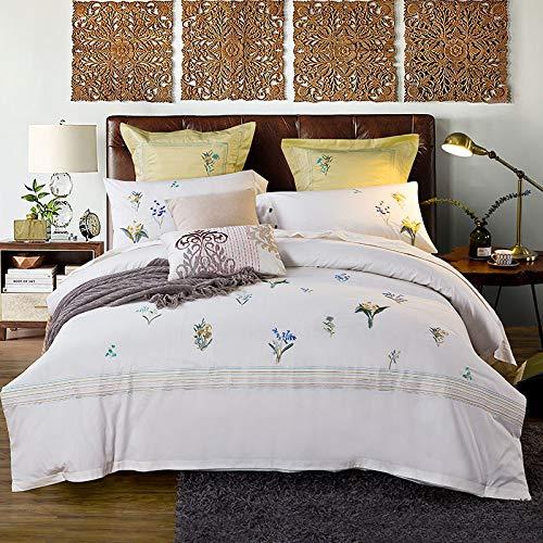Yaonuli katoen met lange vezels, geborduurd, 4 delen, katoen, klein borduurwerk, versheid bruiloft betekenis, 2.0 bed (dekbedovertrek 220 x 240 cm, laken 250 x 270 cm)